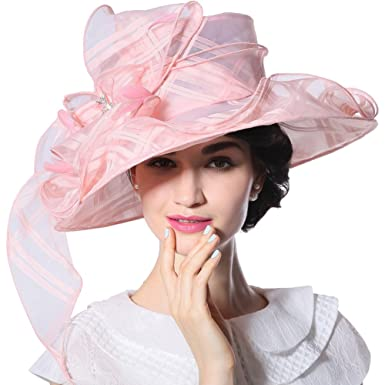65f49db9c4a9a June s Young Women Hat Organza Sun Hat for Kentucky Derby Wide Brim (Light  Pink-
