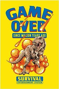 Elbster Arte del Pixel Posters millón de años - Dinosaurio Fresco Divertido Retro Blanco 60 x 90 cm: Amazon.es: Juguetes y juegos