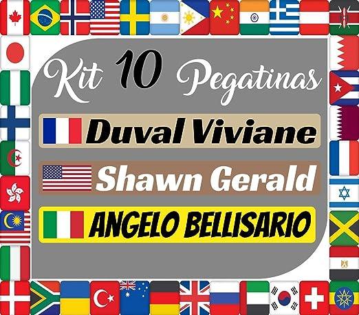 Kit x10 Pegatinas Vinilo Banderas Internacionales + tu Nombre - Bici, Casco, Pala De Padel, Monopatin, Coche, Moto, etc. Kit de Diez Vinilos (Pack Fuentes 1) (Letra A-K): Amazon.es: Coche y moto