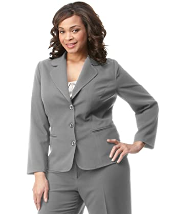 Agb Womens Suit Jacket Blazer Plus Size 14w Collared Long Sleeves