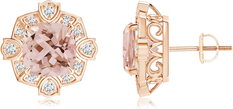 Cyber lunes–Cojín de estilo victoriano Morganite y diamante Stud Pendientes