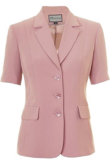 4e63c5d096c9c8 Busy Clothing Womens Dusty Pink Short Sleeve Jacket: Amazon.co.uk ...