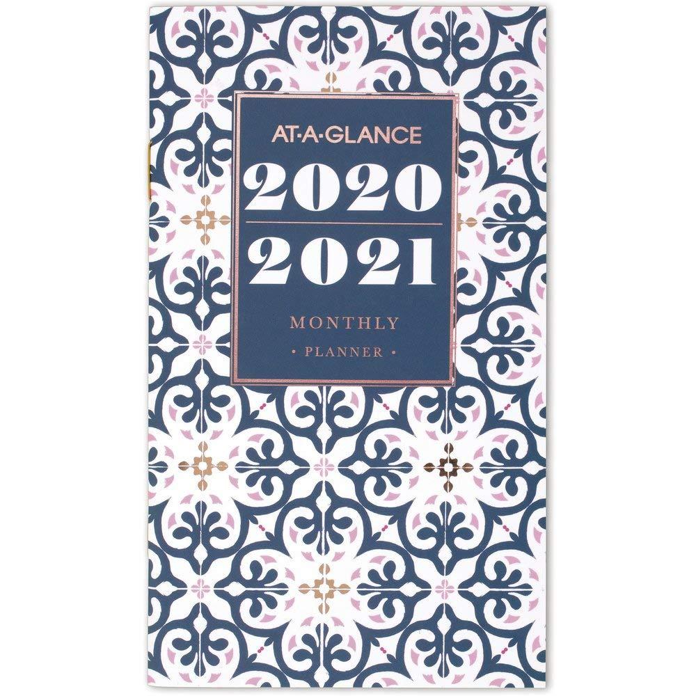 Pocket Calendar 1282F-021 2 Year Badge Floral AT-A-GLANCE 2020-2021 Monthly Pocket Planner 3-1//2 x 6