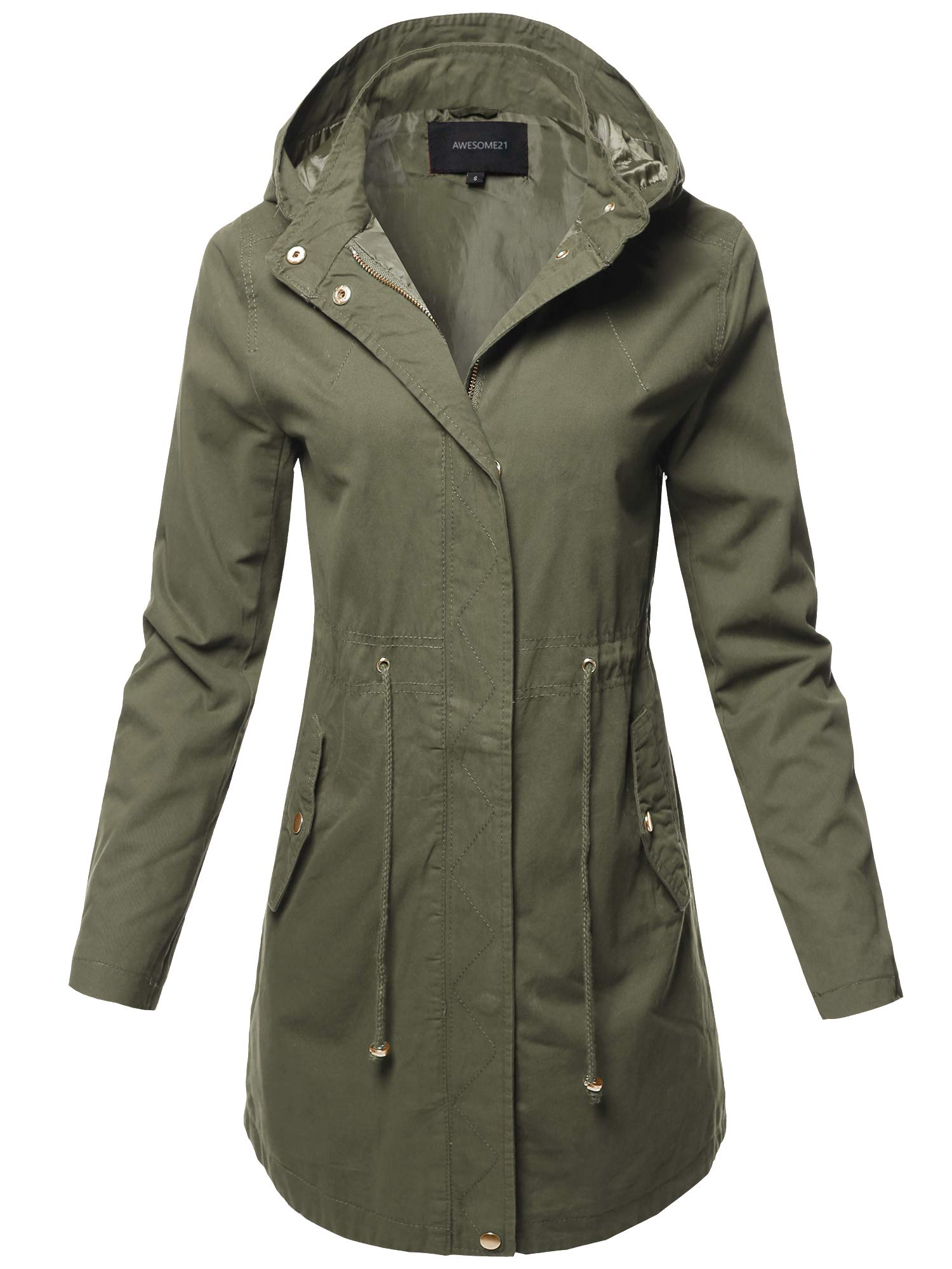 Awesome21 Casual Hooded Drawstring Military Long Length Jacket Olive Size M