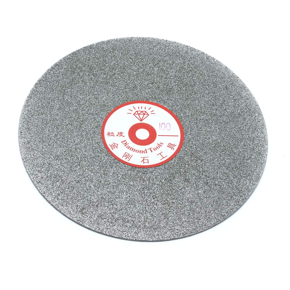 Sscon 6 Inch Grit 100 Diamond Grinding Disc Abrasive Wheel Coated Flat Lap Disc Grinding Sanding Polishing Tool for Gemstone Glass Rock Ceramics