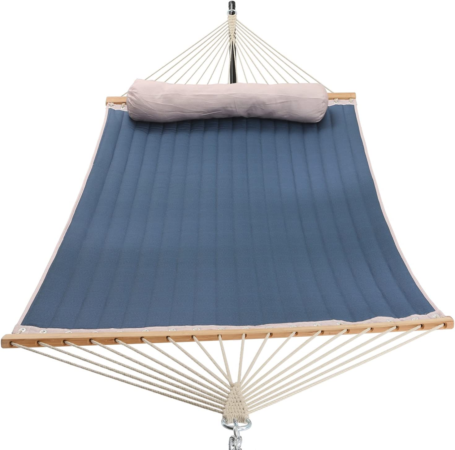 PATIO WATCHER 11 Feet Quilted Fabric Hammock with Pillow, Double Hammock with Bamboo Wood Spreader Bars, Perfect for Outdoor Patio Yard, Dark Blue