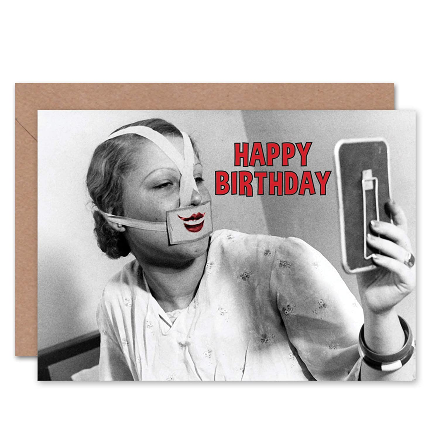 Amazon Wee Blue Coo Card Greeting Happy Birthday Weird Nurse Lips CL1584 Office Products