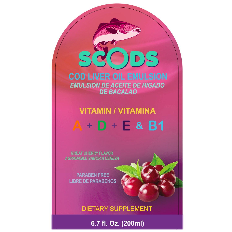 Amazon.com: Emulsion de Scods Cereza Cod Liver Oil Emulsion Cherry 200ml Vitamin A + D + E & B1: Health & Personal Care