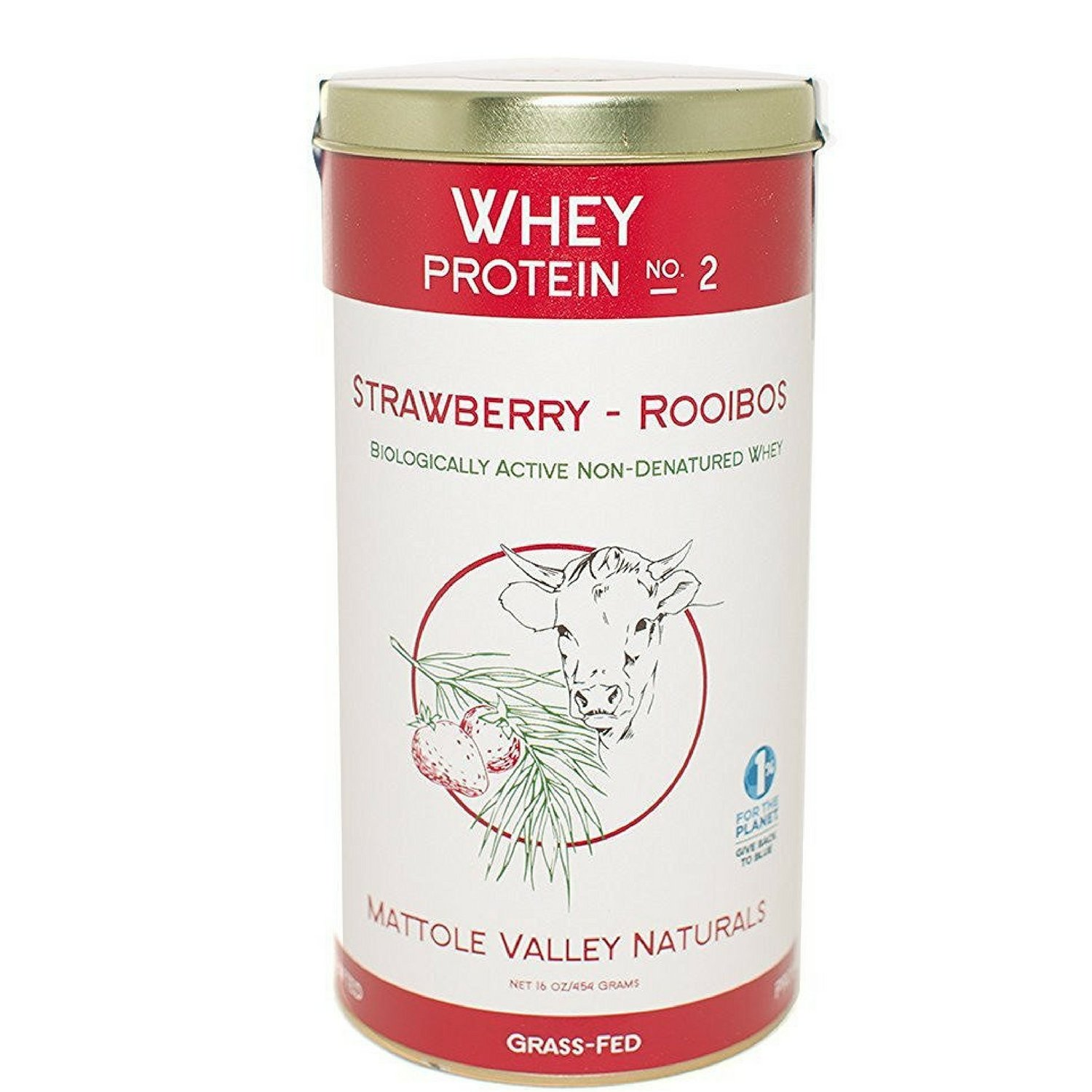 Whey Protein (Strawberry-Rooibos) - Biologically Active - No Antibiotics - Low-Temperature-Processed and Microfiltrated - Made From Happy Australian Open Pasture Grassfed Cows