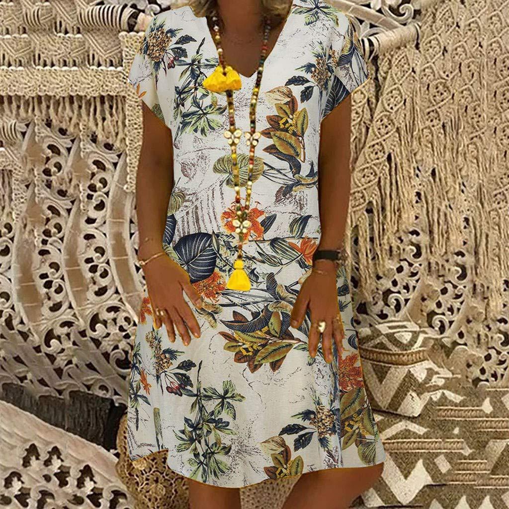Sommerkleid Damen Leinen Kleider V-Ausschnitt Kurzarm Blumenkleid Strandkleider Kleid Boho Vintage Knielang Leinenkleid Partykleid Minikleider Blusenkleider Ohne Zubeh/ör