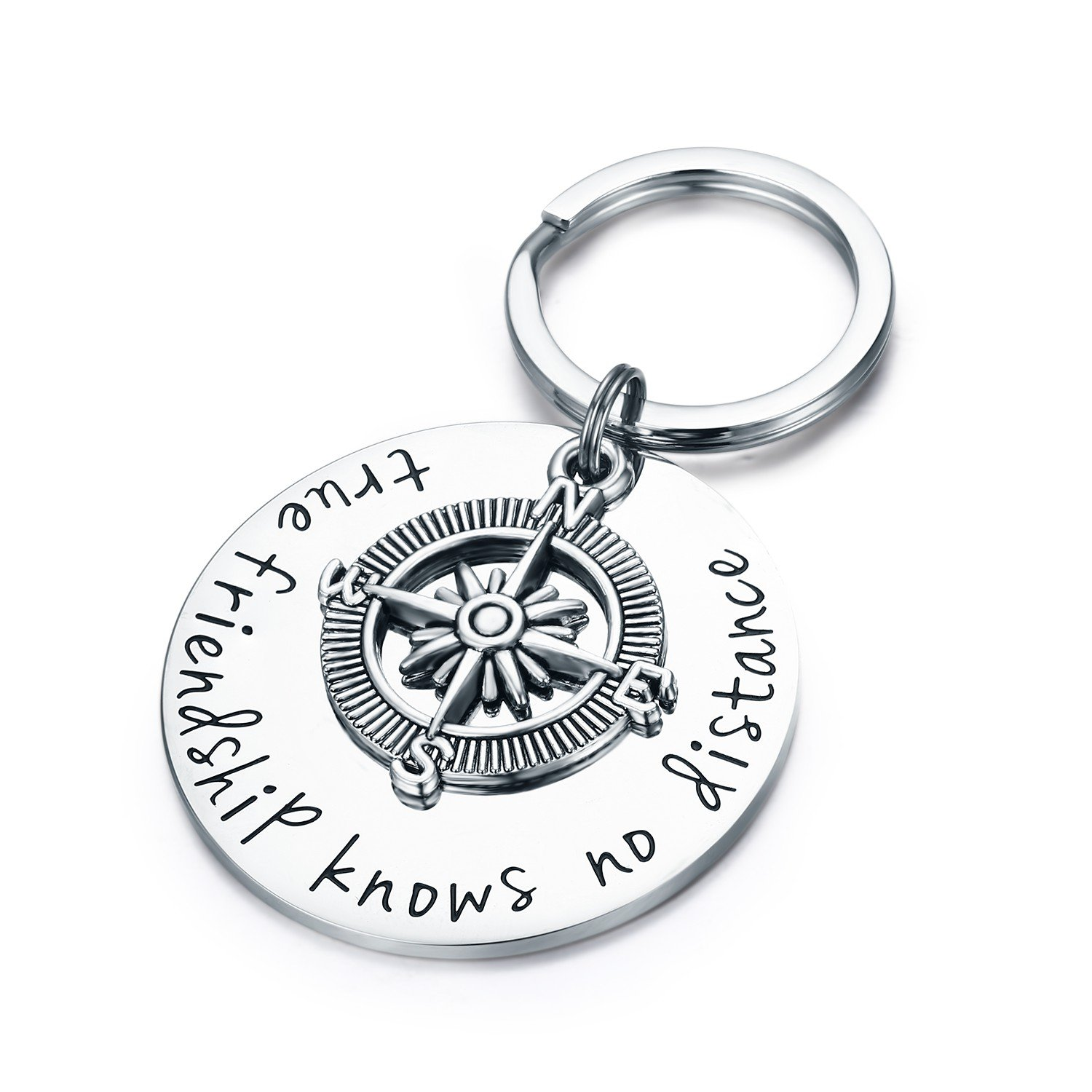 Udobuy Best Friend Keychain - True Friendship Knows No Distance Compass Keychain Long Distance Relationship Gifts by Udobuy