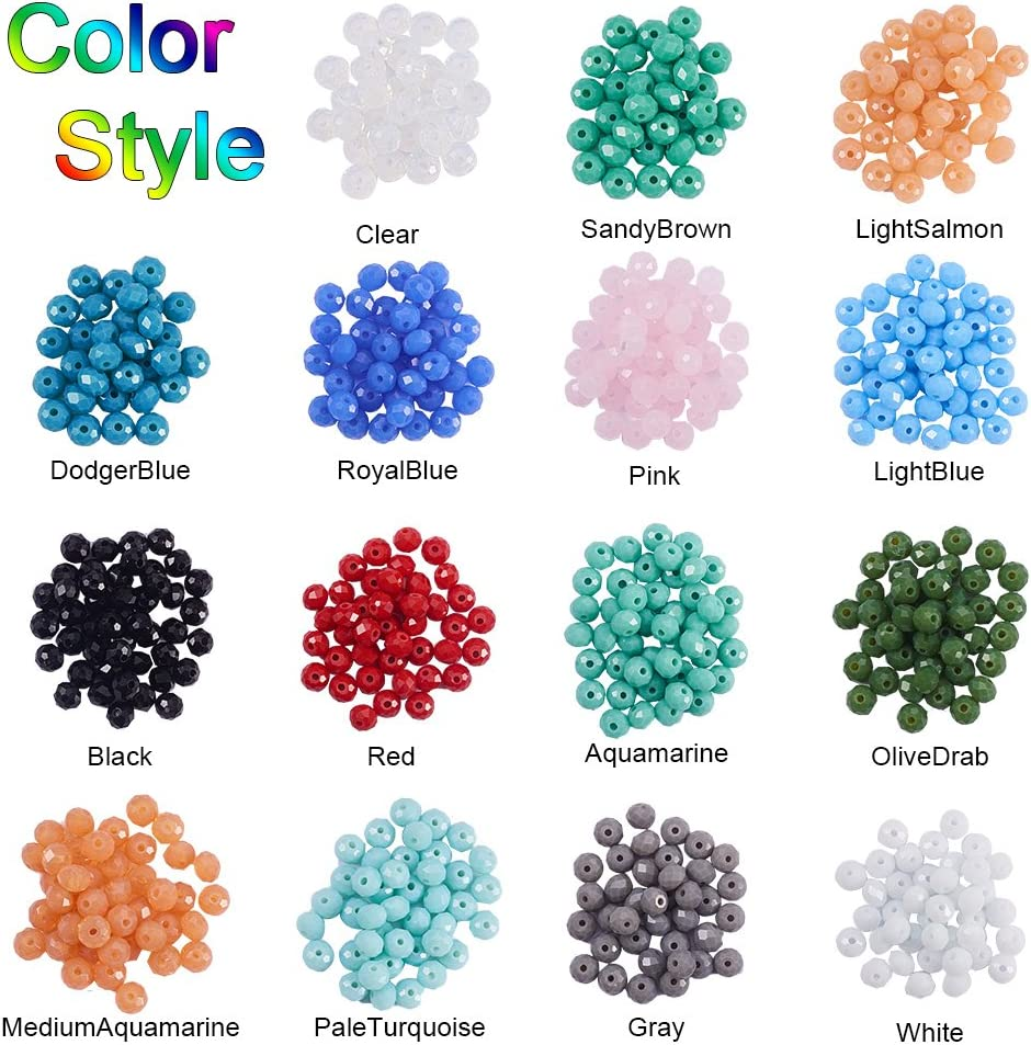 PandaHall Elite 1800 pcs 4mm AB Color Plated Bicone Faceted Glass Beads with 1mm Hole for bracelet Necklace Jewelry DIY Craft Making 15 Mixed Colors
