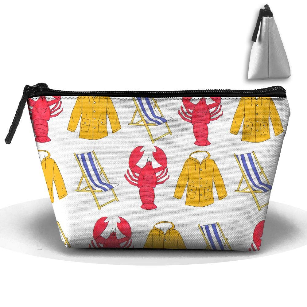 Jingclor Portable Trapezoidal Storage Pouch Lobster Beach Chair Coat Cosmetic Bags Travel Toiletry Zipper Pencil Holders