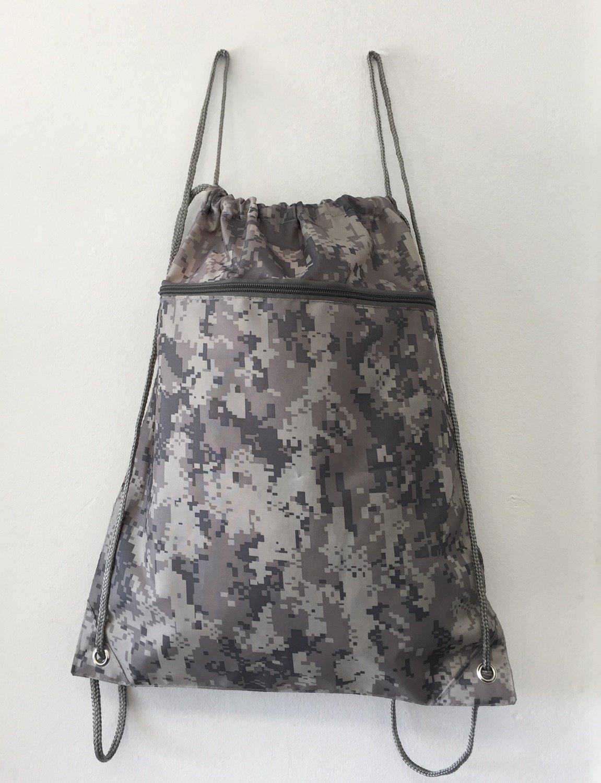 (12 Pack) Set of 12- Economical Drawstring Polyester Backpack with Front Pocket (Digital Camo)