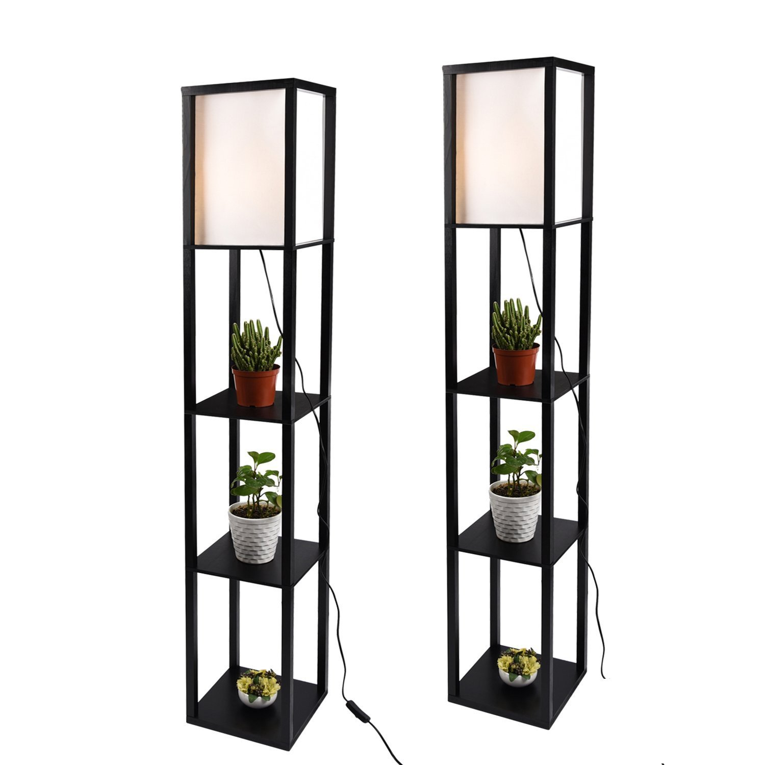 Shelf Floor Lamp with Linen Shade, UL Listed, Wooden Frame, 63 Inch Height, Switch on/Off, Etagere Organizer Shelf,Set of 2 Black