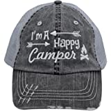 White I'm am A Happy Camper Women Embroidered Trucker Style Cap Hat Rocks any Outfit