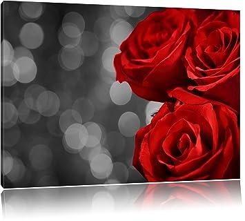 Tre Rose Rosse Nero Bianco Dimensioni 100x70 Su Tela Xxl Enormi