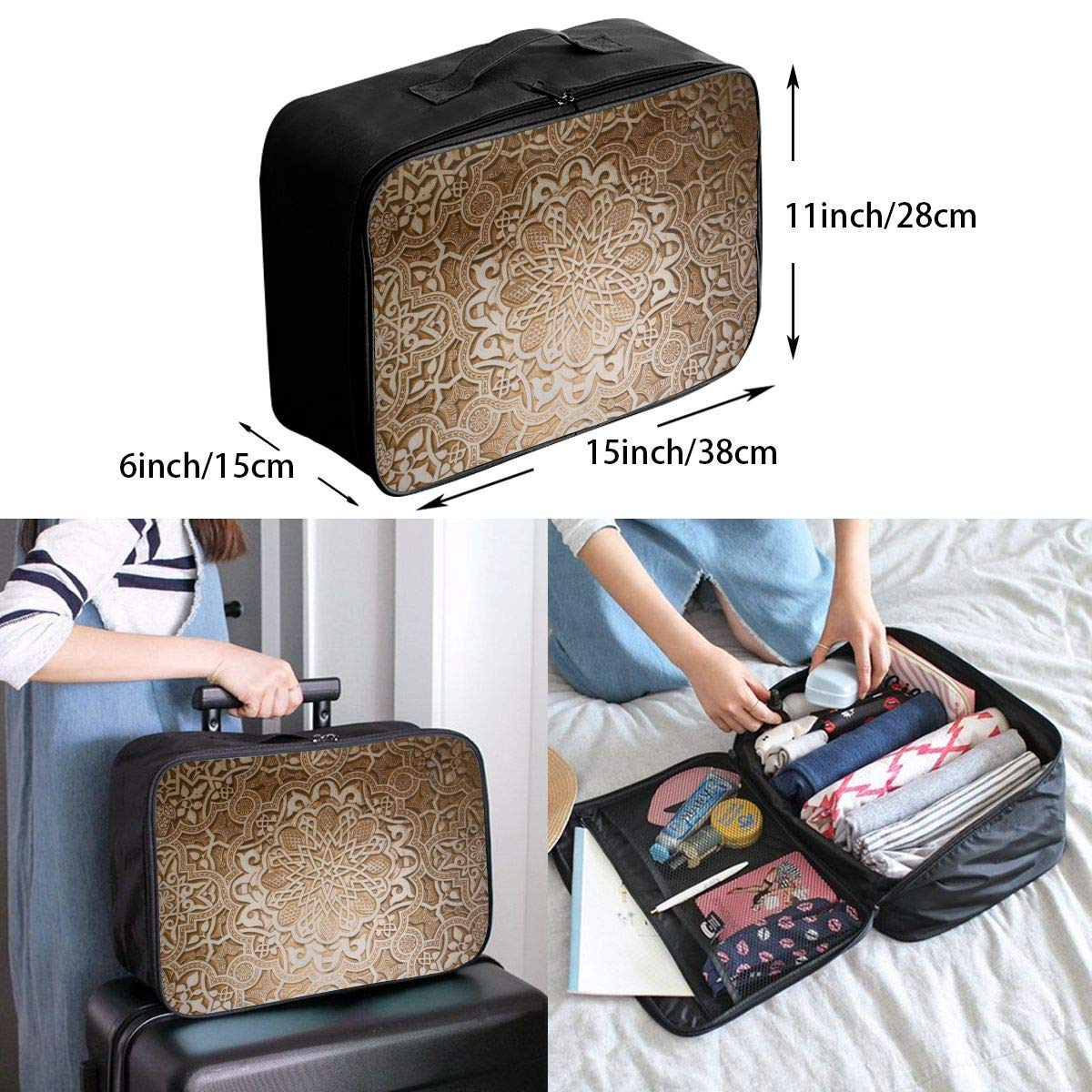 Travel Luggage Duffle Bag Lightweight Portable Handbag Retro Pattern Large Capacity Waterproof Foldable Storage Tote