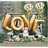 """B-G LOVE (45 INCH) and """"I Do"""" Diamond Ring (32 INCH) Extra Large Balloon Set, Romantic Wedding, Bridal Shower, Anniversary, Engagement Party Décor, Vow Renewal H007"""