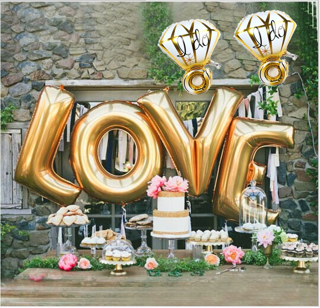 Ruimeier Love (40 Inch) and''I do'' Diamond Ring (27 Inch) Extra Large Balloon Set, Independence Day, Festival, Romantic Wedding, Bridal Shower, Anniversary, Party Decor, Vow Renewal (Golden) H007