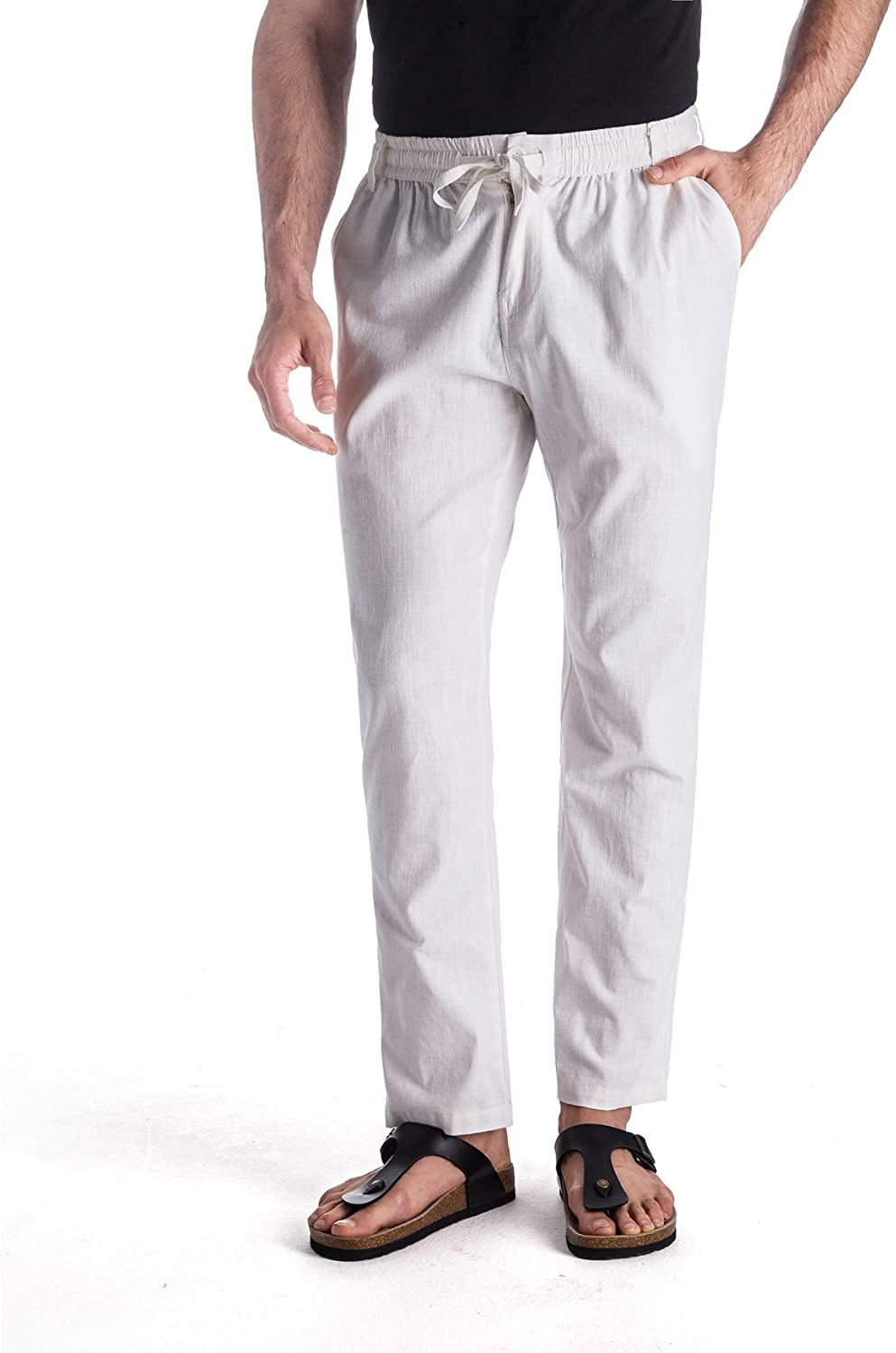 MUSE FATH Men's Linen Drawstring Casual Beach Pants-Lightweight Summer Trousers at  Men's Clothing store