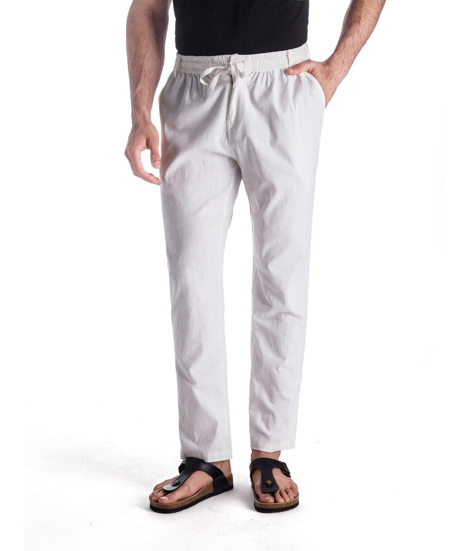 MUSE FATH Men's Linen Drawstring Casual Beach Pants-Lightweight Summer Trousers-White-M