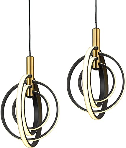 Globe Chandeliers 2 Pack – VICNIE Modern Pendant Light with Adjustable Hanging Cord, 3000K Warm Light ETL Listed with Brushed Brass and Matt Black Finish