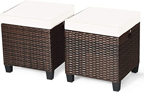 Happygrill 2 Pieces Patio Ottoman Set Outdoor Rattan Wicker Ottoman Seat
