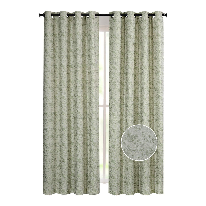 Deco Window Set of 2 Rich Natural Linen Grommet Fern Weave Curtains//Drapes Set 52X84-Green