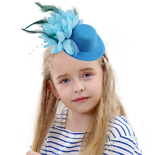 105e52a5 Amazon.com: HOLDOOR Fascinator Hats Feather Fascinators for Girls Little Fascinator  Headband Hat for Girl's Dancing Party Fashion Show Lake Blue: Clothing
