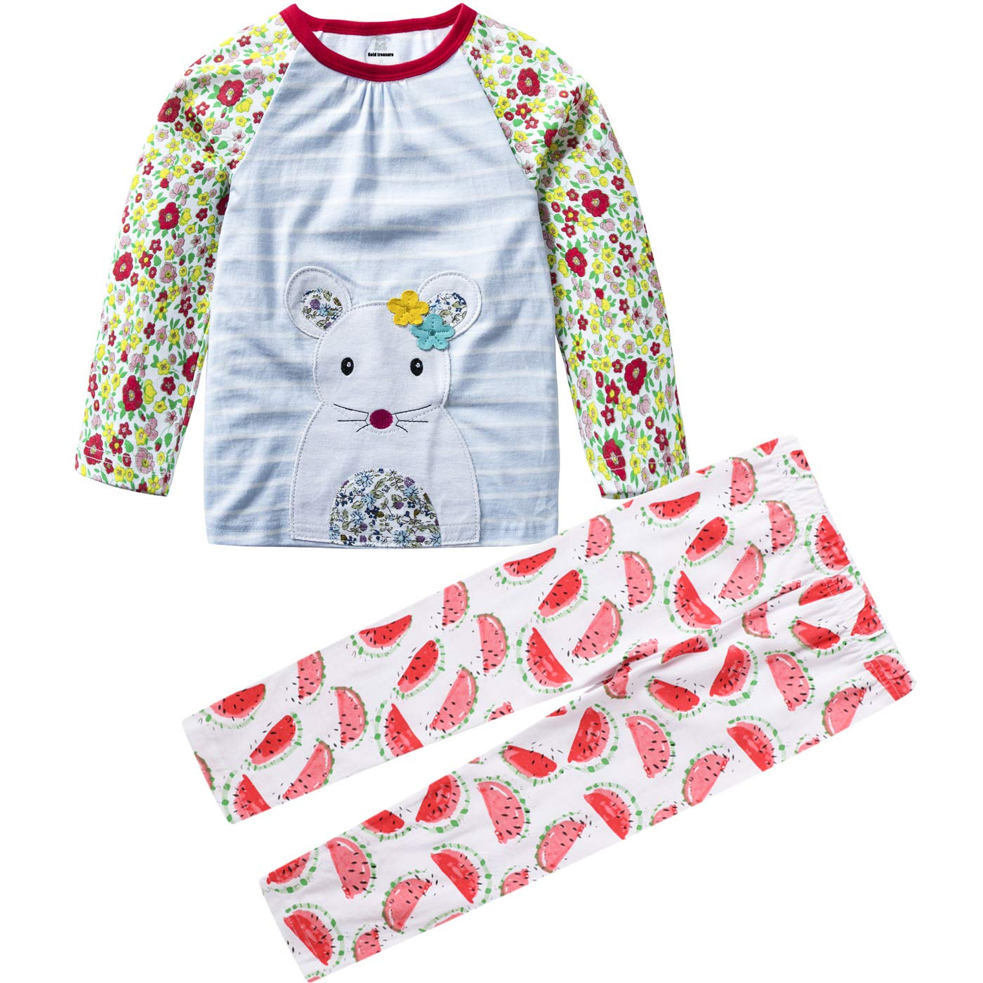 MSSMART Girls Clothes Toddler Cotton Outfits Kids Long Sleeve Tshirt Pants Sets 18M-7T