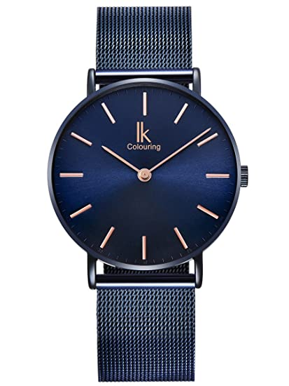 Alienwork Navy Blue Reloj Unisex Relojes Mujer Hombre Acero Inoxidable Azul Analógicos Cuarzo Impermeable Ultra-Delgada: Amazon.es: Relojes