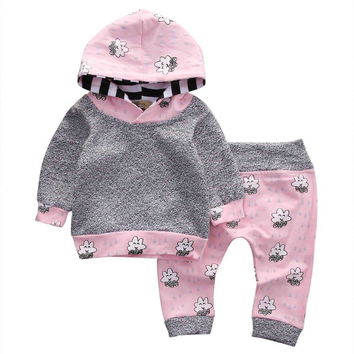 Newborn Baby Girls Clothes Long Sleeve Hoodies Tops Legging Pants Outfits Set Aliven