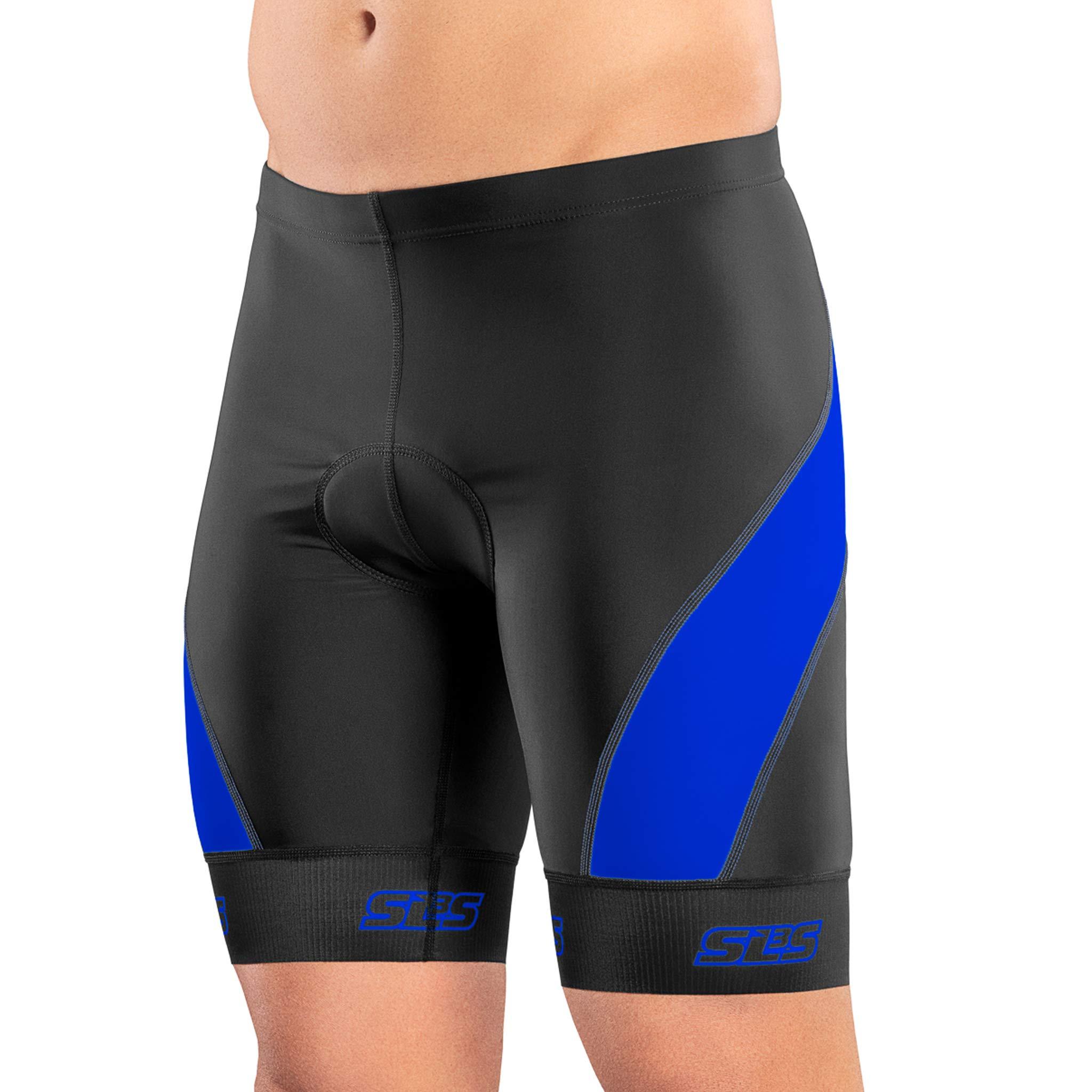 SLS3 FXZ Tri-Shorts - Indoor Cycling - Pocket - Mens Triathlon Shorts 8 inch (Black/Blue, S)