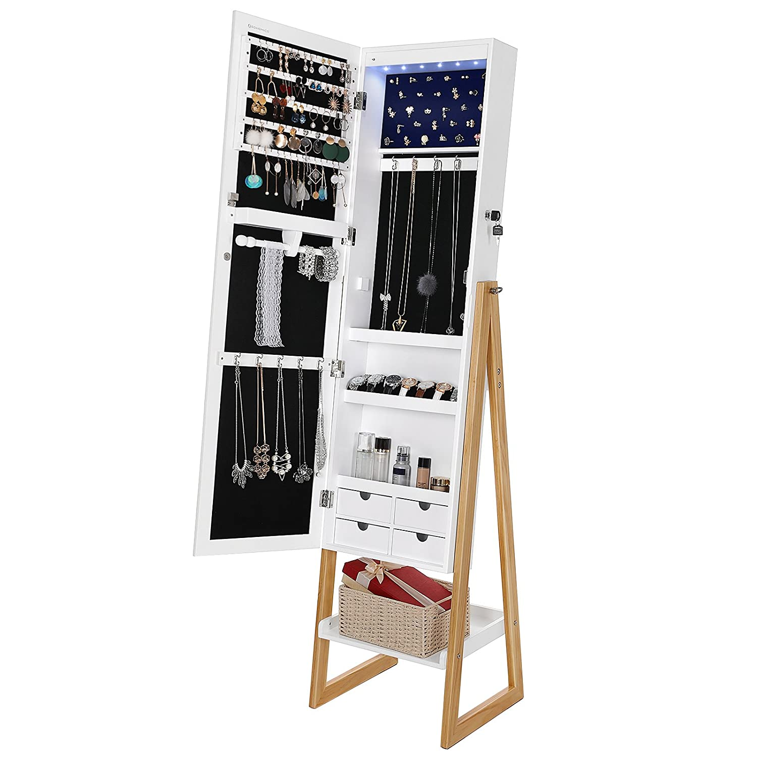 SONGMICS 6 LEDs Jewelry Cabinet Lockable Standing Jewelry Armoire Organizer with Mirror 4 Drawers White & Natural UJBC72WN