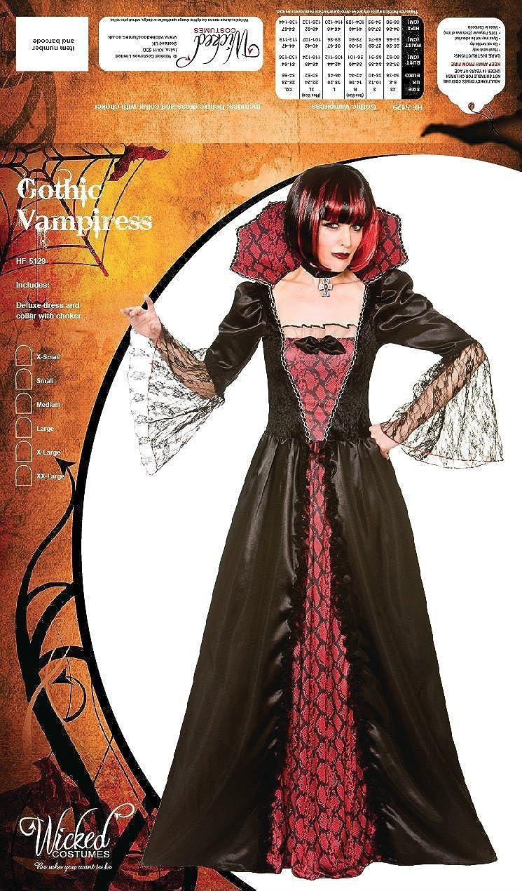 Ladies Gothic Vampire Costume Halloween Fancy Dress Size 10 12 14 Vampiress