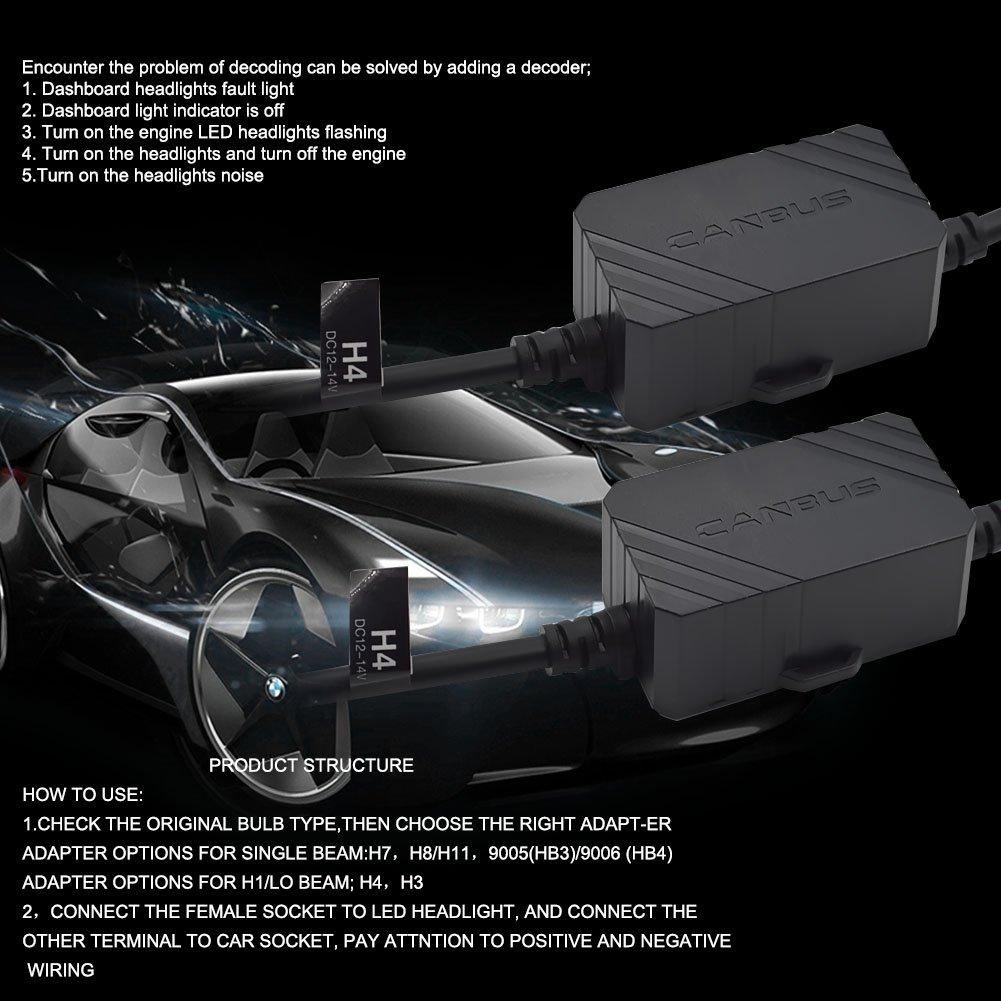 Safego 2x H4 Decodificador de Canbus Cable Antiparpadeo para Bombillas de Faros LED Cancelador de Errores a Bordo para S2 H4
