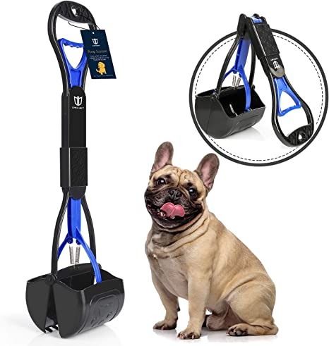 ibestbuy 32Inch Long Handle Pet Pooper Scooper for Large Dogs and Small Dogs with Premium Material and Durable Spring,Portable Foldable for Easy Grass and Gravel Pick Up