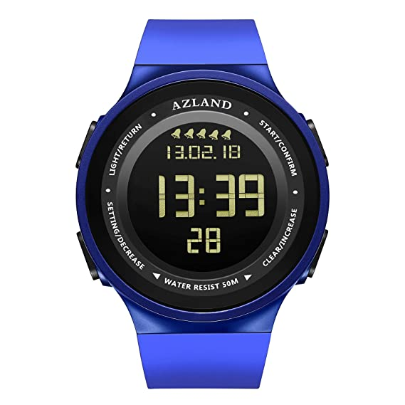 AZLAND Multiple 5 Alarms, Water Resistant Snorking Watch, Swimming Mens Watch Digital Sports Wrist