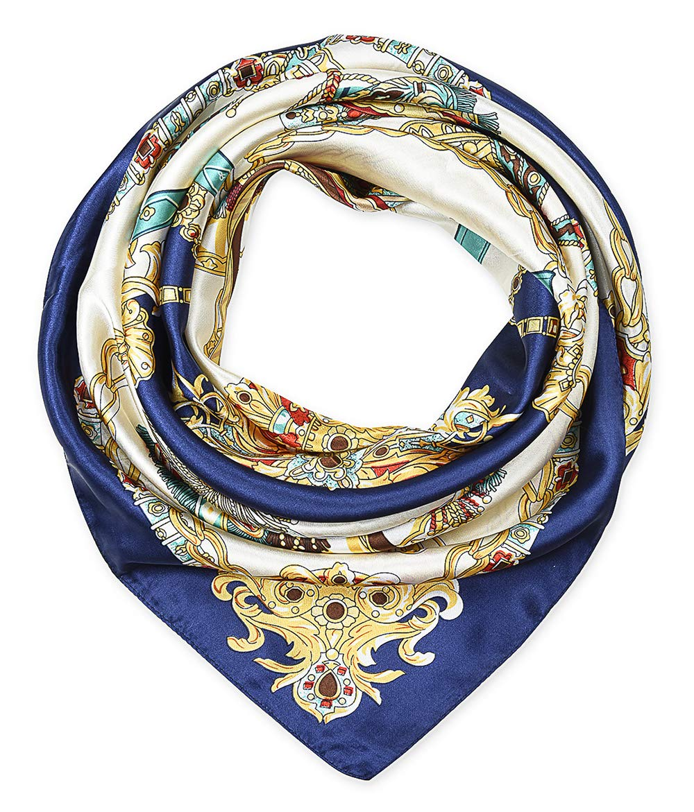 corciova 35'' Large Women's Satin Square Silk Feeling Hair Scarf Wrap Headscarf Beige and Navy Chains