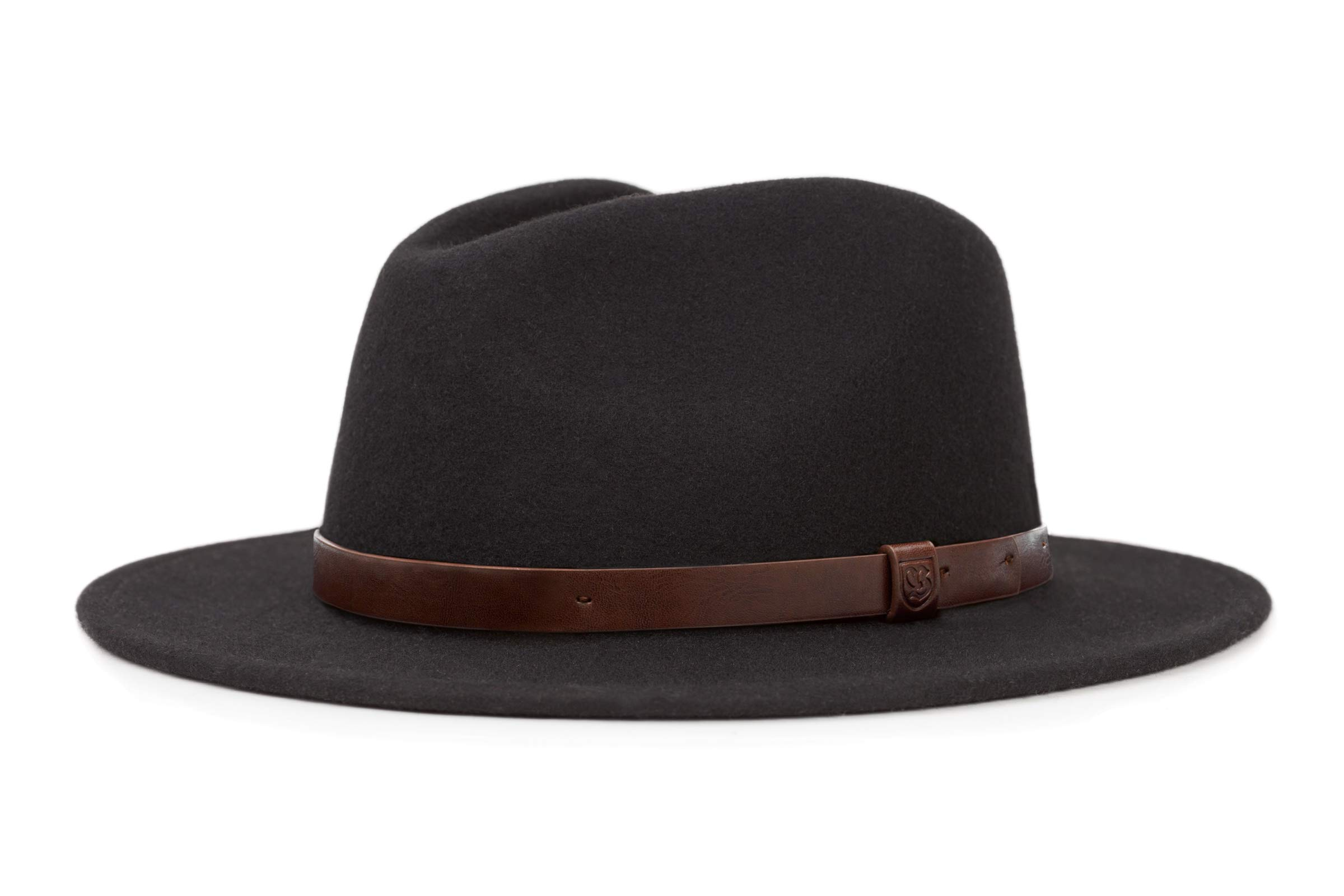 Brixton Men's Messer Medium Brim Felt Fedora Hat, black, Medium
