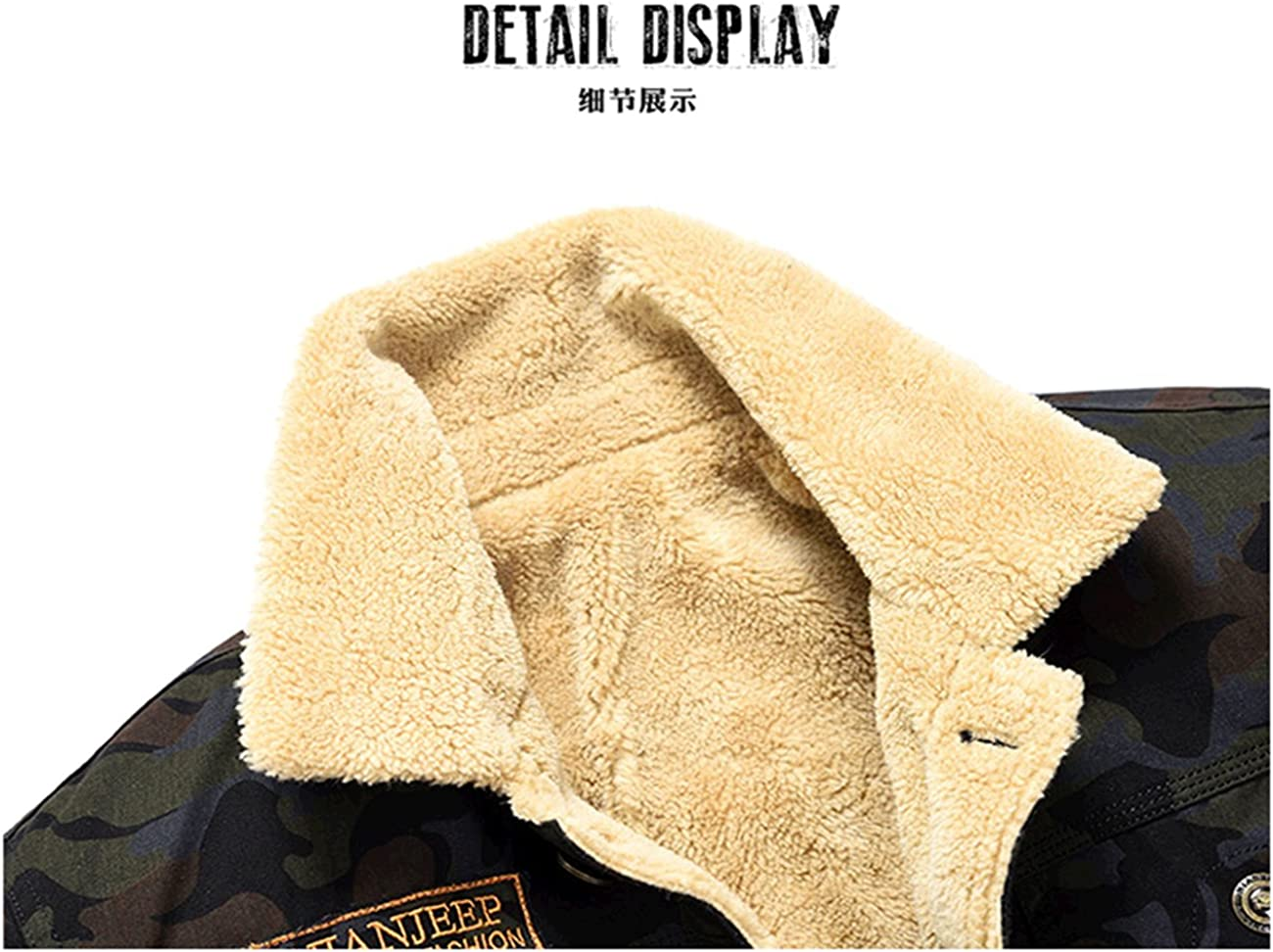 K3K Autumn Winter New Mens Camouflage Warm Coat Faux Fur Lined Thick Jacket