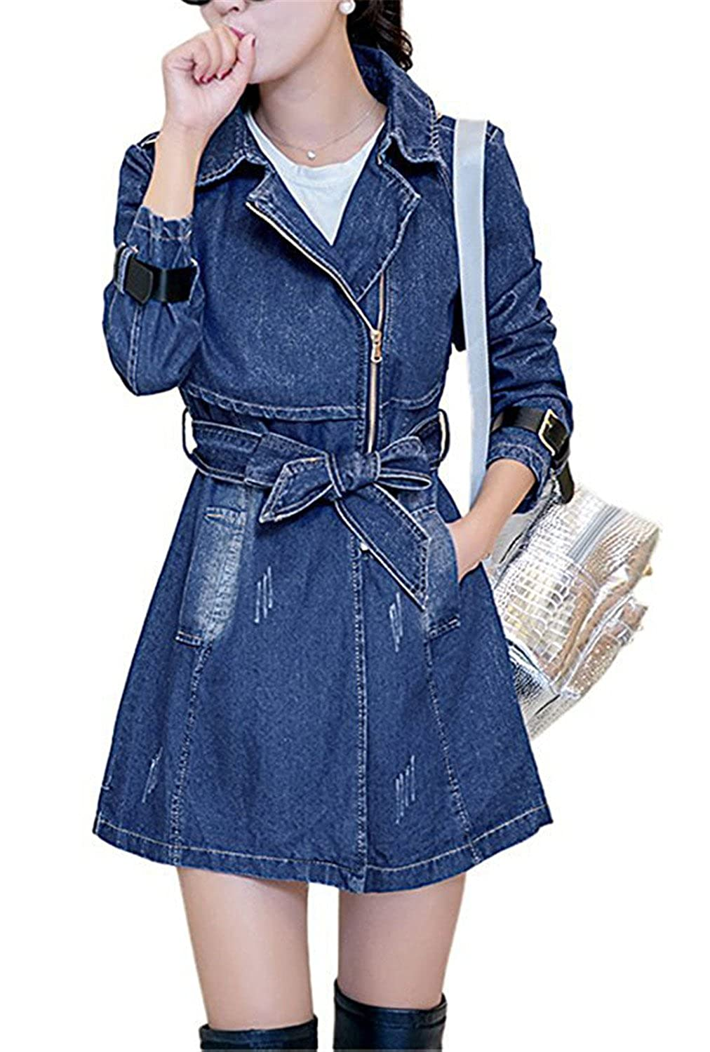 b7c8e5dfd90 Cheryl Bull Popular Womens Fashion Lapel Collar Destroyed Denim Trench Coat  Outerwear Jacket at Amazon Women s Coats Shop