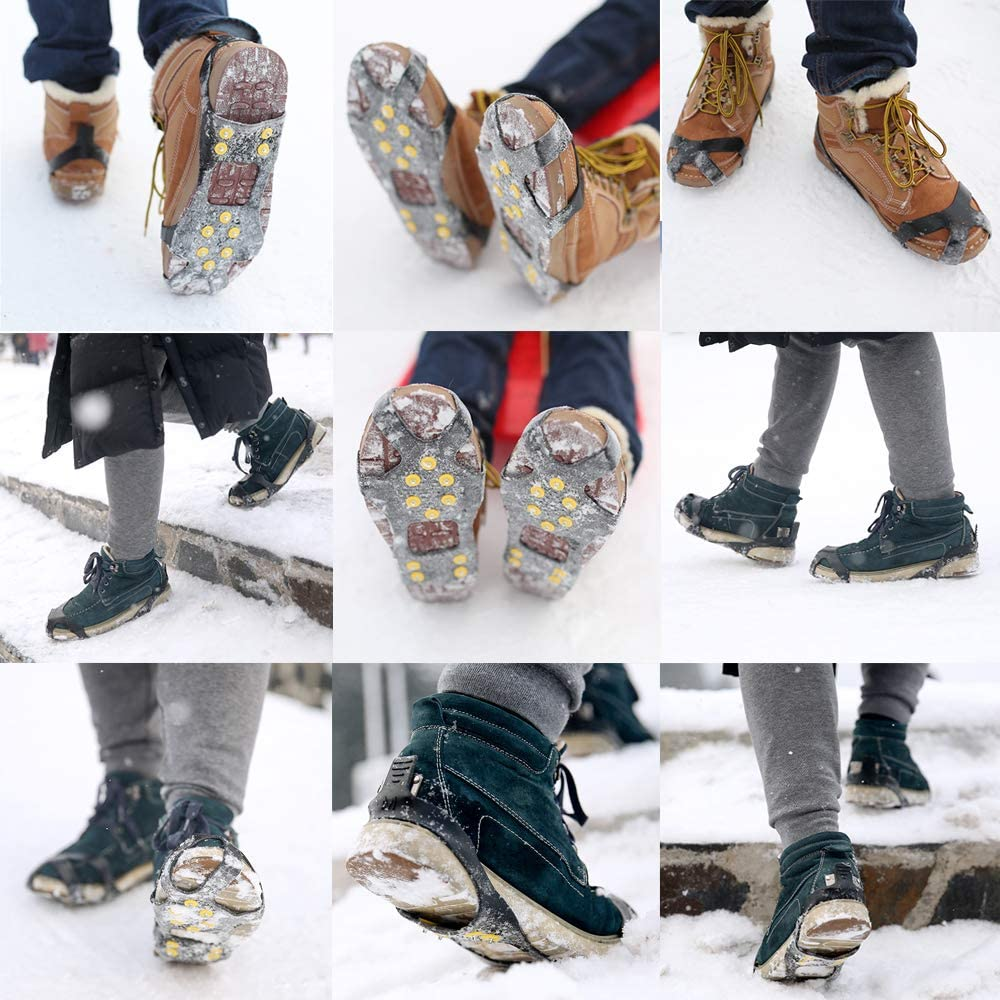 Jogging etc BiBiFly New 10 Teeth Ice Snow Grips Hiking Anti Slip Winter Stretch Footwear Ice Grippers Snow Traction Cleats Crampons Spikers Slip on Boots Shoes Cover Fit for Outdoor Ski Ice Snow Walking