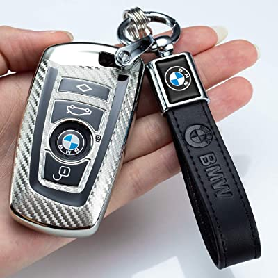 For BMW Car Fob Key Soft TPU Full Cover Carbon Fiber Texture Case With Keychain
