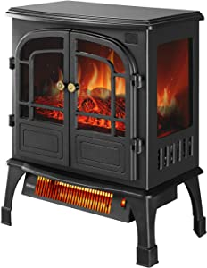 OVASTLKUY 1500W 3D Infrared Electric Fireplace Stove, Freestanding Space Heater with Remote Control for Indoor Use Home Office