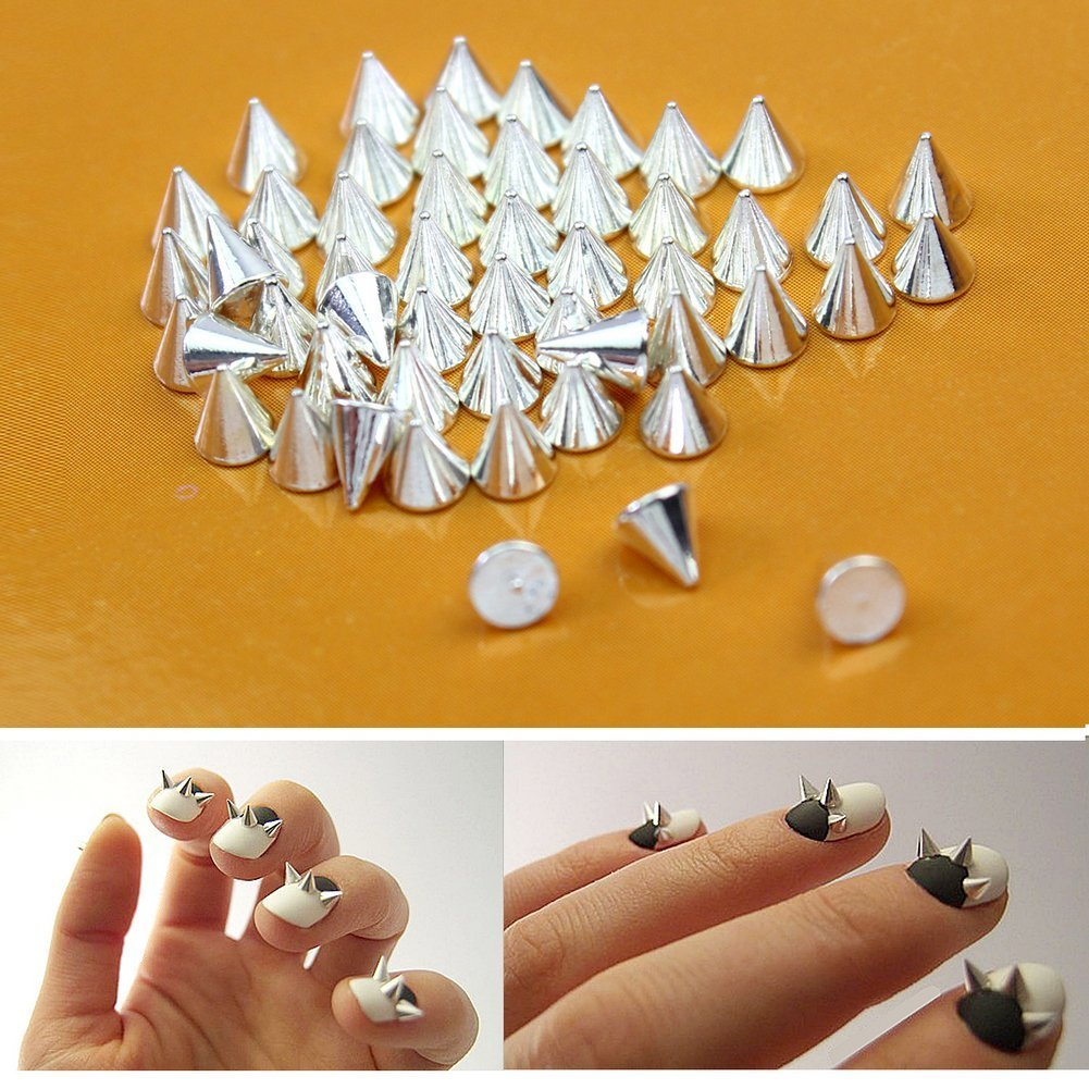 Amazon.com: Nail Art 3d 150 Mix Cone Spike Studs Flat Back(50 Silver ...