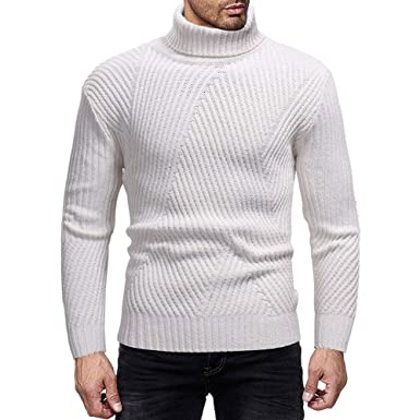 Tricoté Manches Col Top Chemisier Casual Homme Pull Roulé Pnk8w0XO