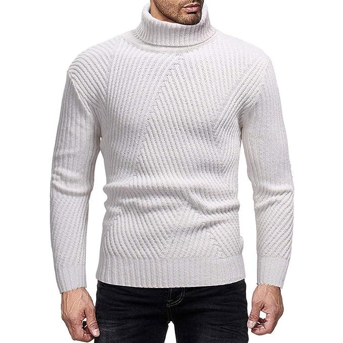 Maglione da Uomo, Longra Maglione a Collo Alto Autunno e Inverno da Uomo Maglione Lavorato a Maglia di Base Girocollo Pullover Sweater T Shirt a