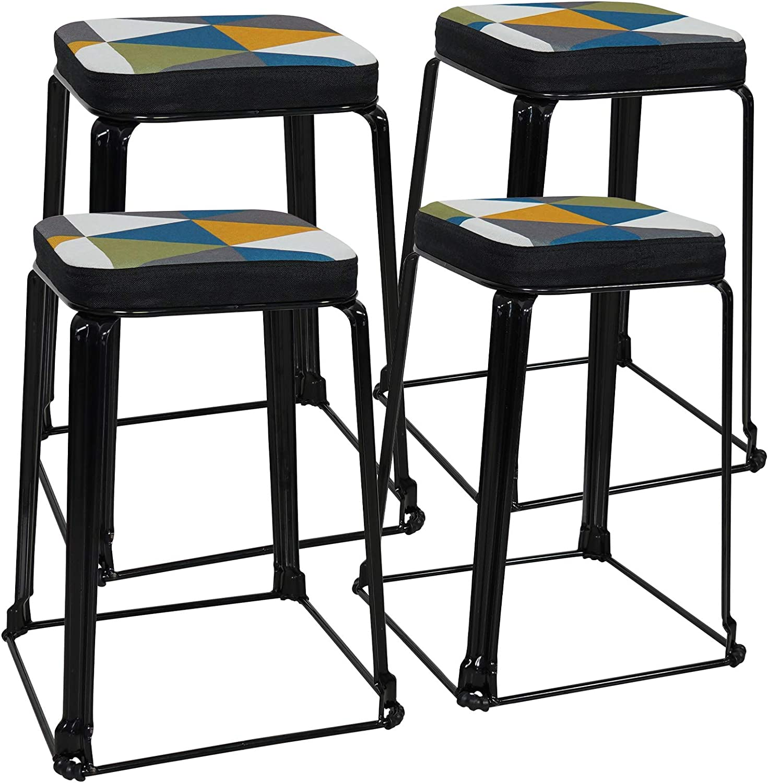 Summerville Accent Stools Saddle-Seat Kitchen Stools Backless Stools Set of 4 Indoor Footrest Home Dining Metal Stackable Bar Stools Blue Argyle 24